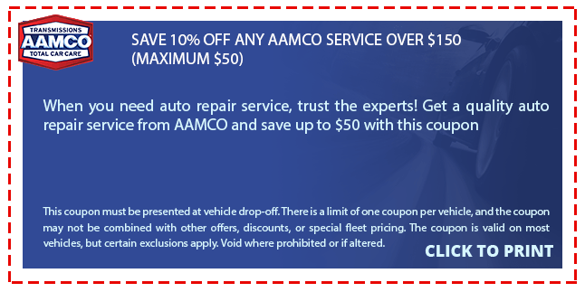 TRANSMISSIONS AAMCO SAVE 10% OFF ANY AAMCO SERVICE OVER $150 (MAXIMUM $50) TOTAL CAR CARE When you need auto repair service, trust the experts! Get a quality auto repair service from AAMCO and save up to $50 with this coupon This coupon must be presented at vehide drop-off. There is a limit of one coupon per vehicle, and the coupon may not be combined with other offers, discounts, or special fleet pricing. The coupon is valid on most vehicles, but certain exclusions apply. Void where prohibited or if altered. CLICK TO PRINT